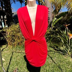 Neon Red Sexy Deep Plunge Dress or Coverup